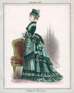 Those rosettes! Victorian Era Fashion, 1870s Fashion, Europe Fashion, Victorian Steampunk, Fashion History, Vintage Fashion, Medieval Fashion, French Fashion, Historical Costume