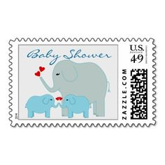 Elephants Baby Shower for Boy Twins Postage Stamps