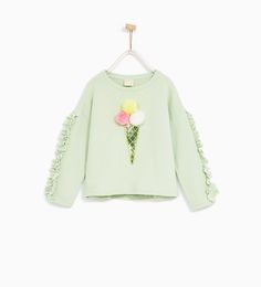 ZARA - KIDS - ICE CREAM SWEATSHIRT WITH POMPOM APPLIQUÉ
