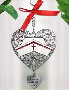 Nurse Filigree Heart Ornament - Nurses Touch Your Heart Charm Pewter Metal 4.25 Inch