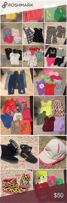 "bundle several pieces together or sell separate 24 m/2T - 3T (a few 18m but fit like 2T) girls bundle. All pre-loved, but still have lots of life left in them! TOMS Black boots and sparkled flats size 6, cheetah TOMS booties are 5.5; Nike Dri-Fit hat is ""infant"" size; swimsuits say 18m but my daughter just wore one recently and she's currently wearing 2t/3t in street clothes. Prefer to sell as bundle, but open to selling separately, and open to all reasonable offers... there's like 60…"