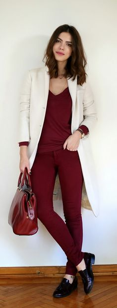 Classic White and Burgundy Pop Outfits