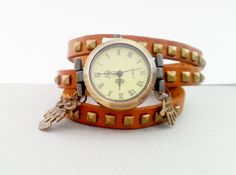 Light brown leather long strap watch wrap Love by MKedraDecoupage, $23.00