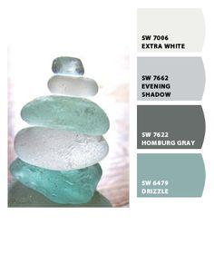 Love this color palette especially since it has turquoise! | CHIP IT! by Sherwin-Williams – ChipCard by Allisen C. Bathroom Paint Colors, Paint Colors For Home, House Colors, Bedroom Colors, Paint Schemes, Colour Schemes, Color Combos, Sea Glass Colors, Coastal Colors