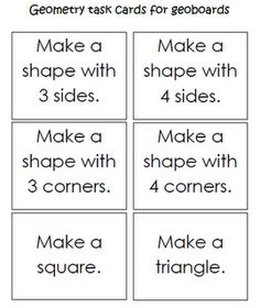 Geometry task cards for geoboards. Math Printable (download has more then are pictured here)