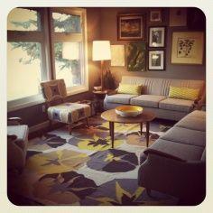 """Loving my new rug from @DwellStudio Pulls all those fabulous shades of yellow & grey together!"" via @Rosalyn Lazaruk"