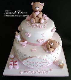 Baptism cake - cake by Clara Torta Baby Shower, Tortas Baby Shower Niña, 1st Birthday Cake For Girls, Baby Birthday Cakes, Baby Girl Cakes, Baby Girl Christening Cake, Teddy Bear Cakes, Birthday Cake Decorating, Cake Decorating Tutorials