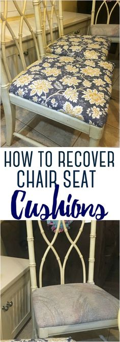 With a little DIY know-how, and a few simple supplies and tools, you can transform ugly dining chairs into beautiful pieces. Here's how to recover chair seat cushions yourself. covers for chairs How to Recover Chair Seat Cushions Refinished Chairs, Kitchen Chair Cushions, Farmhouse Seat Cushions, Kitchen Chairs, Dining Chair Makeover, Seat Covers For Chairs, Covering Chairs, Chair Cushion Covers, Dining Chair Covers