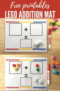 Free LEGO Addition Mat   Actividad de suma con ladrillos LEGO   http://www.legoactivities.com