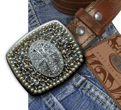 Bling Cross Belt Buckle by WhatTheBuckle on Etsy