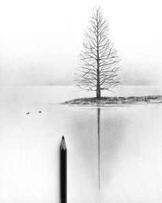 #drawing #septemberart  #sketch #tree #lake #x Tree Pencil Sketch, Pencil Sketches Landscape, Landscape Drawing Tutorial, Pencil Drawings Of Nature, Pencil Trees, Sad Drawings, Tree Sketches, Nature Drawing, Landscape Drawings