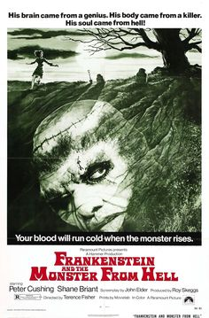 "Movie Poster for the Hammer horror film ""Frankenstein and the Monster from Hell"" (1974), directed by Terence Fisher and starring Peter Cushing as the titular mad scientist and David Prowse as the monster"