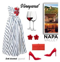 """Best Dressed Guest: Winery"" by alinepinkskirt ❤ liked on Polyvore featuring Ingie Paris, Jimmy Choo, Hermès, Chanel, LSA International, napa, winerywedding, bestdressedguest and vineyardwedding"