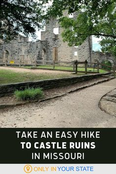 Take a fun, easy, family-friendly hike to historic castle ruins in Missouri. You'll find the beautiful ADA-accessible trail in Ha Ha Tonka State Park and it makes for a great local day trip. Camping And Hiking, Backpacking, Ha Ha Tonka, Ada Accessible, Places To Travel, Places To Visit, Best Bucket List, 100 Things To Do, Hidden Beach