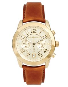 Michael Kors Tan Leather Strap Watch with Gold Face