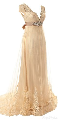 Diyouth Long Lace V-Neck Formal Gown & Bowknot Belt