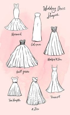 When searching for a wedding dress, the amount of choices can be somewhat overwhelming — especially so when you're first starting to shop. What is the difference between all the different styles?  We had the same questions, which is why we did some research and created this guide — complete with easy-to-understand illustrations and shopping options — for each distinct silhouette.