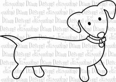 dachshund craft projects | Digital Stamp Dachshund by paperaddictions on Etsy