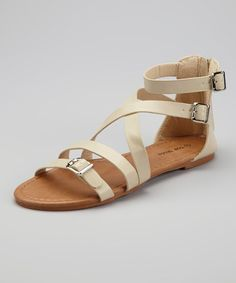 Take a look at this Beige Candle-38 Gladiator Sandal by TOP MODA on #zulily today!