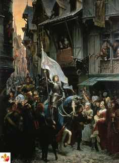 Joan of Arc enters Orléans (painting by J. Sherer, The martyr and Saint Joan of Arc who is one of several patron saints of France. Joan D Arc, Saint Joan Of Arc, St Joan, Jeanne D'arc, Catholic Saints, Patron Saints, Roman Catholic, Mystery Of History, Pre Raphaelite