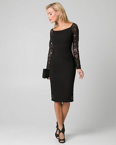 Lace & Ponte Boat Neck Cocktail Dress - Lace sleeves update a classic boat neck cocktail dress for a chic and playful style. Cocktail Dresses With Sleeves, Black Cocktail Dress, I Dress, Dress Lace, Xmas Dresses, Formal Dresses, Lace Sleeves, Boat Neck, Lace Trim