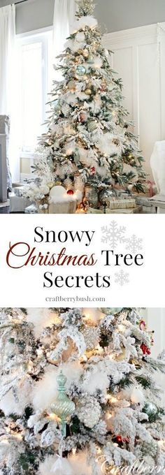 Cristhmas Tree Decorations Ideas : The flocked tree secret garland revealed. So flipping brilliant! Snowy Christmas Tree, Beautiful Christmas Trees, Merry Little Christmas, Primitive Christmas, Christmas Love, Magical Christmas, Christmas Ideas, Christmas Tree Feathers, White Flocked Christmas Tree
