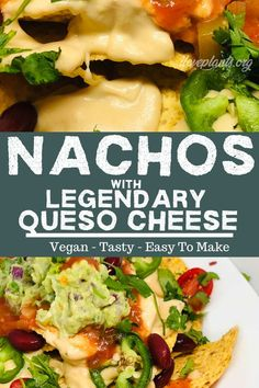 A vegan snack or vegan dinner game changer! LOADED with delicious yet healthy toppings, these nachos are great for every social occasion. Your loved ones won't be able to stop eating this plant-based taste sensation! Vegan Lunches, Vegan Foods, Vegan Snacks, Vegan Dinners, Delicious Vegan Recipes, Healthy Dinner Recipes, Whole Food Recipes, Healthy Meals, Diet Recipes
