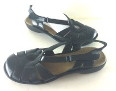 CLARKS BENDABLES Sz 10 M US Womens Black Leather Sandals sling back velcro MTC #Clarks #Slides #Casual