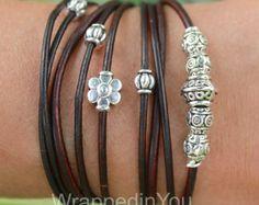 Boho LEATHER Chain Wrap Bracelet Bohemian Gypsy by WrappedinYou