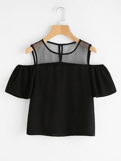 Store Open Shoulder Mesh Panel Prime on-line. SheIn presents Open Shoulder Mesh Panel Prime & extra to suit your trendy wants. Teen Fashion Outfits, Girl Fashion, Fashion Dresses, Fashion Black, Fashion Ideas, Belted Shirt Dress, Tee Dress, Skinny Jeans Damen, Vetement Fashion