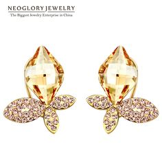 Neoglory Gold Plated Yellow Stud Earrings For Women 2017 New Brand Gifts
