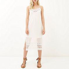 Cream embroidered strappy slip dress