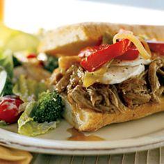 Hot Slow-Roasted Pork, Onion, and Mozzarella Sandwiches