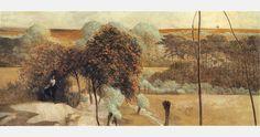 """Jacek Malczewski, """"Idź nad strumienie"""" (lewa część tryptyku), 1909-10, olej na tekturze, fot. Muzeum Narodowe w Warszawie"""