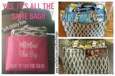 The All New Thirty One Soft Utility Tote - packs up tiny in your car, holds a huge amount when you need it and transforms into a stylish tote. One bag - endless possibilities! #31 Www.mythirtyone.com/JFeichtinger