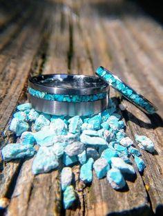 Matching Navajo Turquoise Wedding Band Set, Titanium Wedding Band Set with Blessed Navajo Turquoise