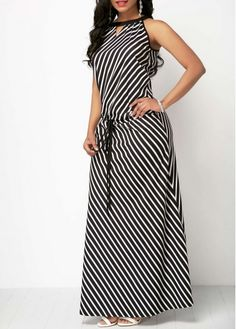 Sleeveless Black Drawstring Waist Maxi Dress | Rosewe.com - USD $33.17 Striped Maxi Dresses, Casual Dresses, Classy Outfits, Pretty Outfits, Summer Dresses Online, African Dress, Dress Skirt, Beautiful Dresses, Look