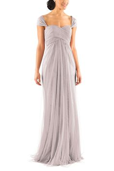 DescriptionJenny YooWillowFulllength bridesmaid dressCriss crossed,sweetheart necklineStrapless, natural waistlineConvertible style with long tulle panelsSoft Tulle
