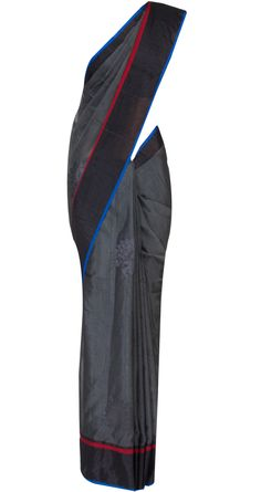 Dark grey cutwork chanderi sari by EKAYA. Shop at http://www.perniaspopupshop.com/whats-new/ekaya-11