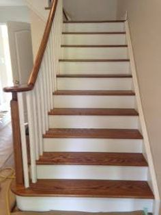 Oak Staircase, White spindles/risers/stringers.