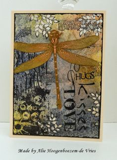 Stamped card with Dylusions Ink Sprays,  Stampinback.nl  dragonfly, Designs by Ryn Leafy branch and Sea Bubbles Set, collagestamp Tracy Bautista, made by Alie Hoogenboezem-de Vries