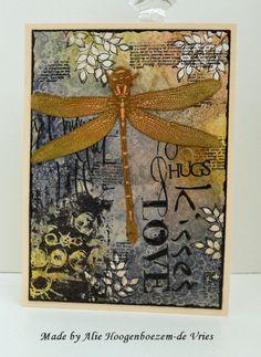Alie Hoogenboezem-de Vries: Hugs on a card and Hello on a tag...