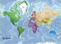 World Physical / Political Mixed Map Wall Maps, Vinyl Banners, World, Prints, Poster, Art, Art Background, Kunst, Printed
