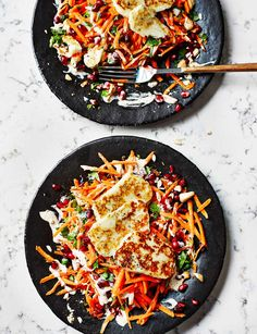 Looking for a quick, healthy dinner? This dish pairs the salty taste of the cheese with the sweetness of pomegranate and it's a match made in heaven