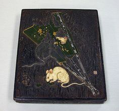 Writing Box with Design of Mice and Fan  Ogawa Haritsu (Ritsuô)  (Japanese, 1663–1747)  Period: Edo period (1615–1868) Date: 18th century Culture: Japan Medium: Colored lacquer, gold, silver, ceramic, mother-of-pearl, and pewter on zelkova wood