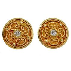 Etruscan Revival Round Diamond Button Gold Earrings