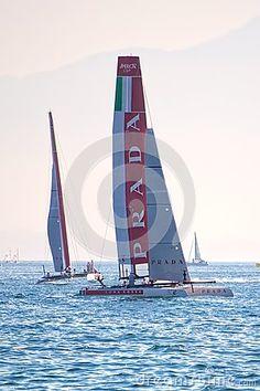 Luna Rossa Swordfish and Piranha Catamarans during America's Cup World Series 2013 in Naples
