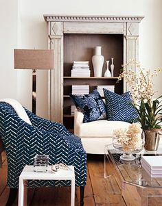 Indigo Blue Chair and pillows