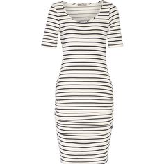 Tart Collections - Jasmin Cutout Striped Modal-blend Dress ($64) ❤ liked on Polyvore featuring dresses, white, one shoulder dresses, mini dress, white ruched dress, white mini dress and white cut out dress