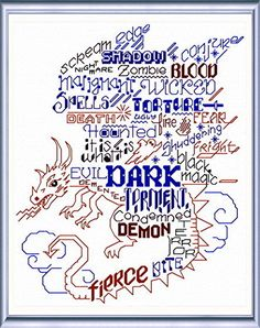 Lets Get Dark 'Words' cross stitch pattern designed by Ursula Michael, Dragon Cross Stitch, Fantasy Cross Stitch, Just Cross Stitch, Cross Stitch Baby, Cross Stitching, Cross Stitch Embroidery, Machine Embroidery, Cross Stitch Designs, Cross Stitch Patterns